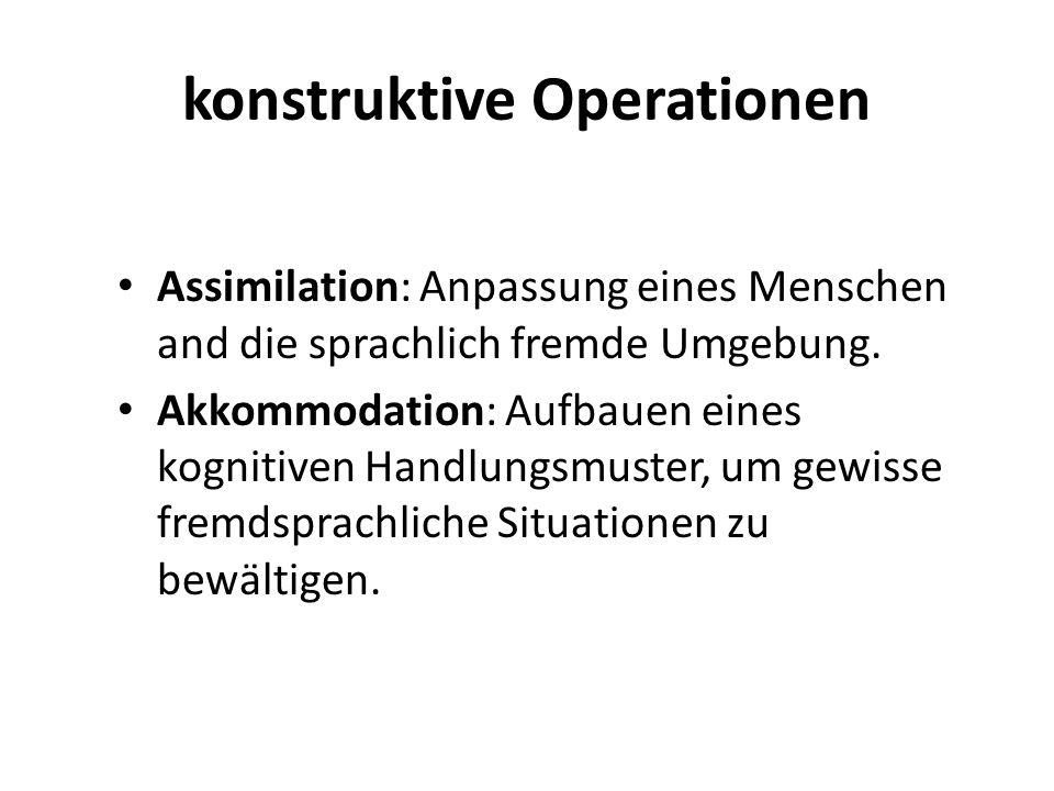 konstruktive Operationen Assimilation: Anpassung eines Menschen and die sprachlich fremde Umgebung. Akkommodation: Aufbauen eines kognitiven Handlungs