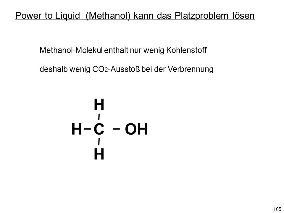 C H H HOH Methanol-Molekül enthält nur wenig Kohlenstoff deshalb wenig CO 2 -Ausstoß bei der Verbrennung Power to Liquid (Methanol) kann das Platzprob