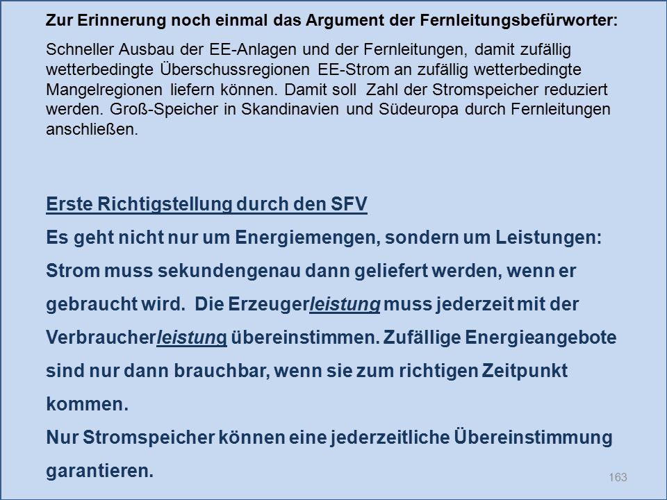 163 Erste Richtigstellung durch den SFV Es geht nicht nur um Energiemengen, sondern um Leistungen: Strom muss sekundengenau dann geliefert werden, wen