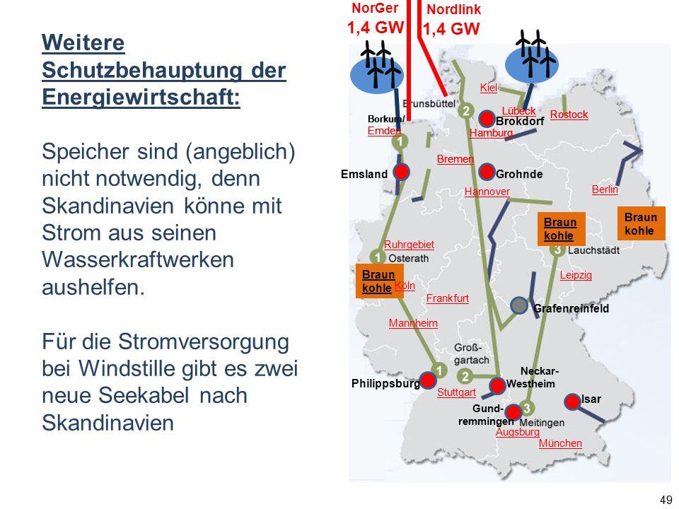 Weitere Schutzbehauptung der Energiewirtschaft: Speicher sind (angeblich) nicht notwendig, denn Skandinavien könne mit Strom aus seinen Wasserkraftwer