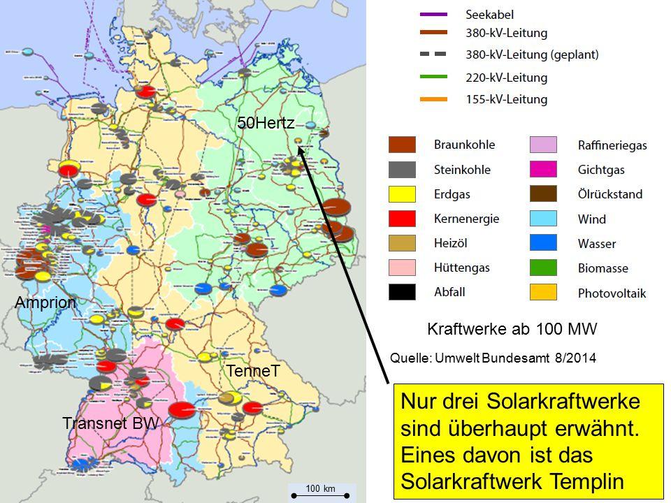 80 Nur drei Solarkraftwerke sind überhaupt erwähnt. Eines davon ist das Solarkraftwerk Templin Transnet BW Amprion TenneT 50Hertz Quelle: Umwelt Bunde