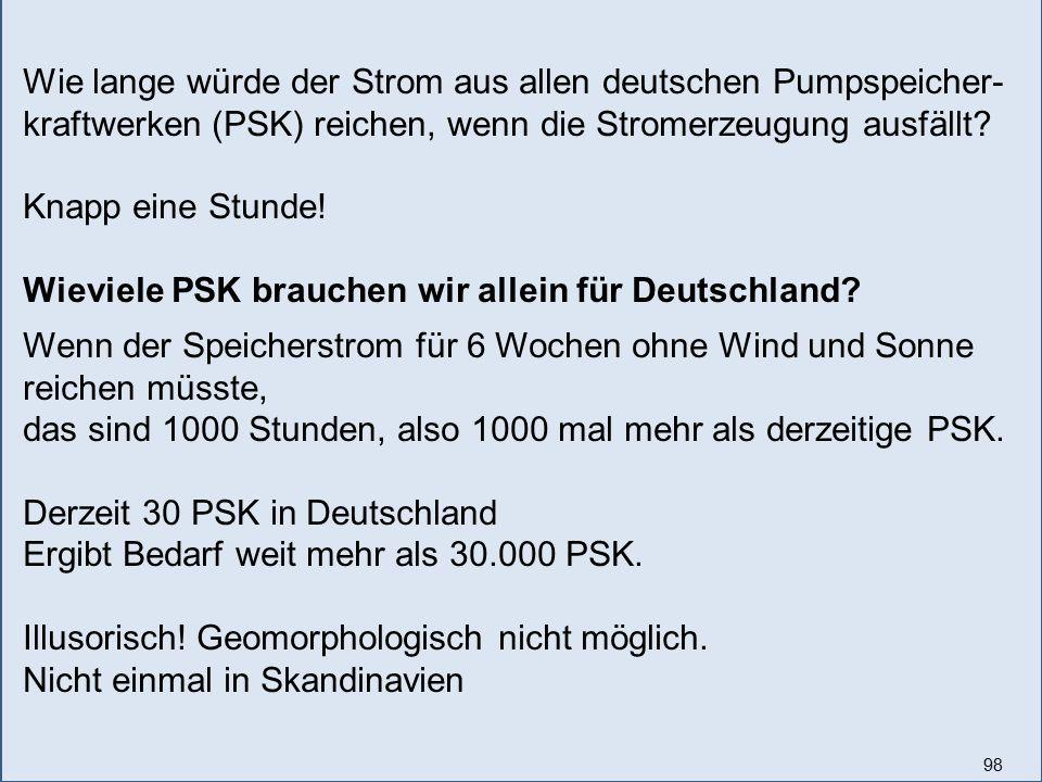 98 Wie lange würde der Strom aus allen deutschen Pumpspeicher- kraftwerken (PSK) reichen, wenn die Stromerzeugung ausfällt? Knapp eine Stunde! Wieviel