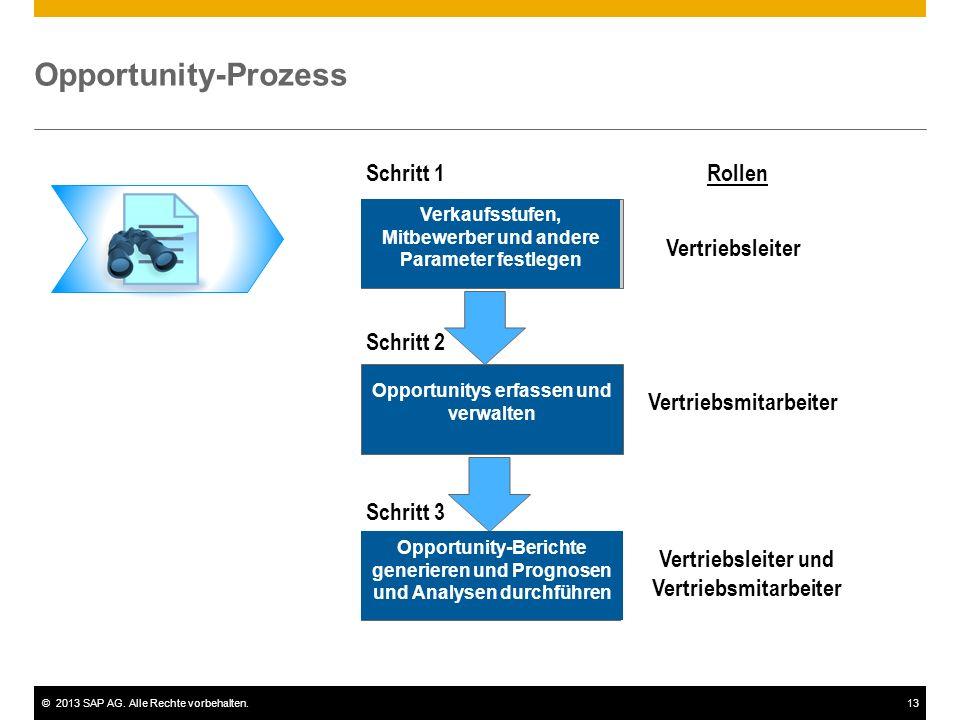 ©2013 SAP AG. Alle Rechte vorbehalten.13 Opportunity-Prozess Verkaufsstufen, Mitbewerber und andere Parameter festlegen Opportunitys erfassen und verw