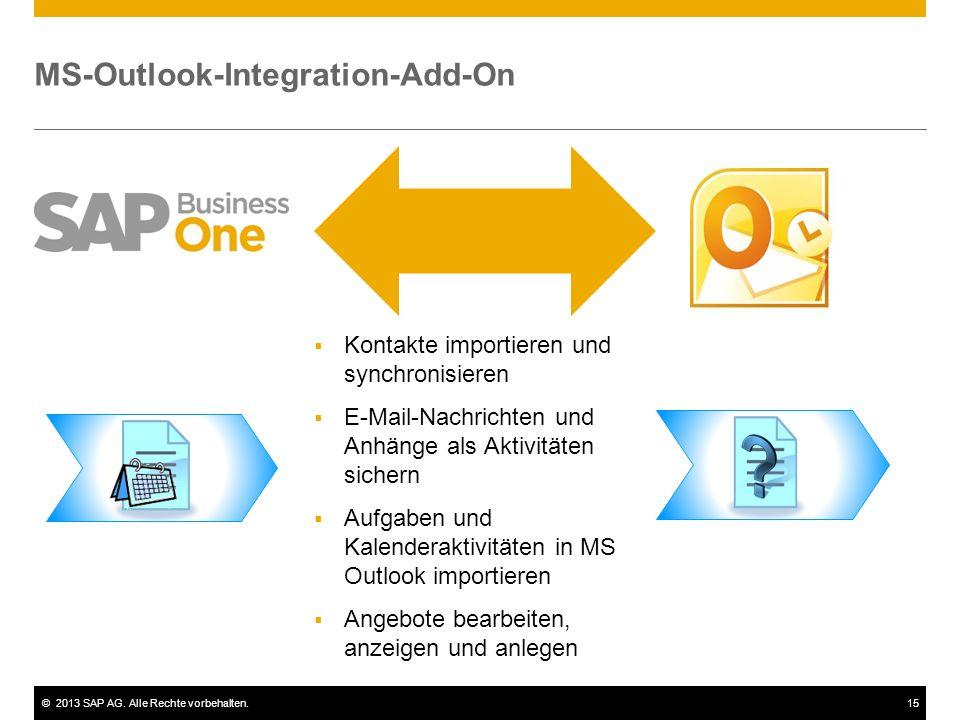 ©2013 SAP AG. Alle Rechte vorbehalten.15 MS-Outlook-Integration-Add-On  Kontakte importieren und synchronisieren  E-Mail-Nachrichten und Anhänge als