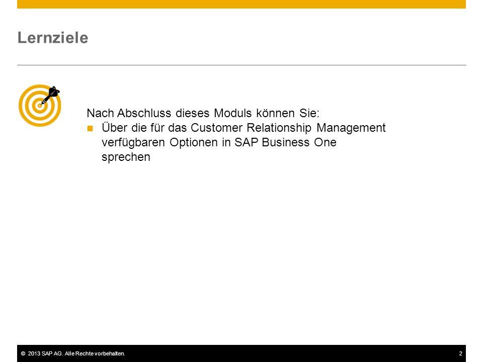 ©2013 SAP AG. Alle Rechte vorbehalten.2 Nach Abschluss dieses Moduls können Sie: Über die für das Customer Relationship Management verfügbaren Optione