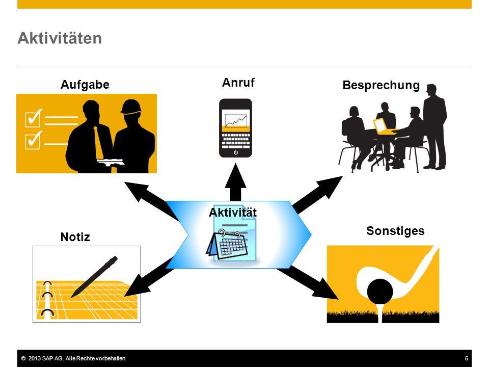 ©2013 SAP AG. Alle Rechte vorbehalten.5 Aktivitäten Notiz Anruf Besprechung Aufgabe Sonstiges Aktivität