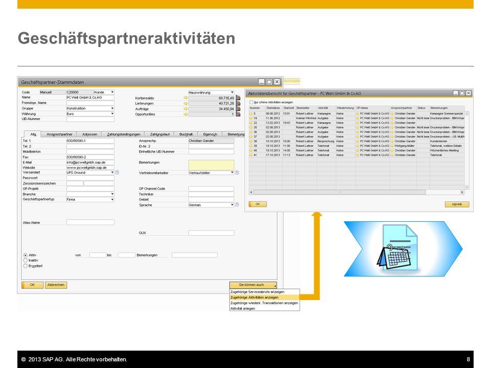 ©2013 SAP AG. Alle Rechte vorbehalten.8 Geschäftspartneraktivitäten
