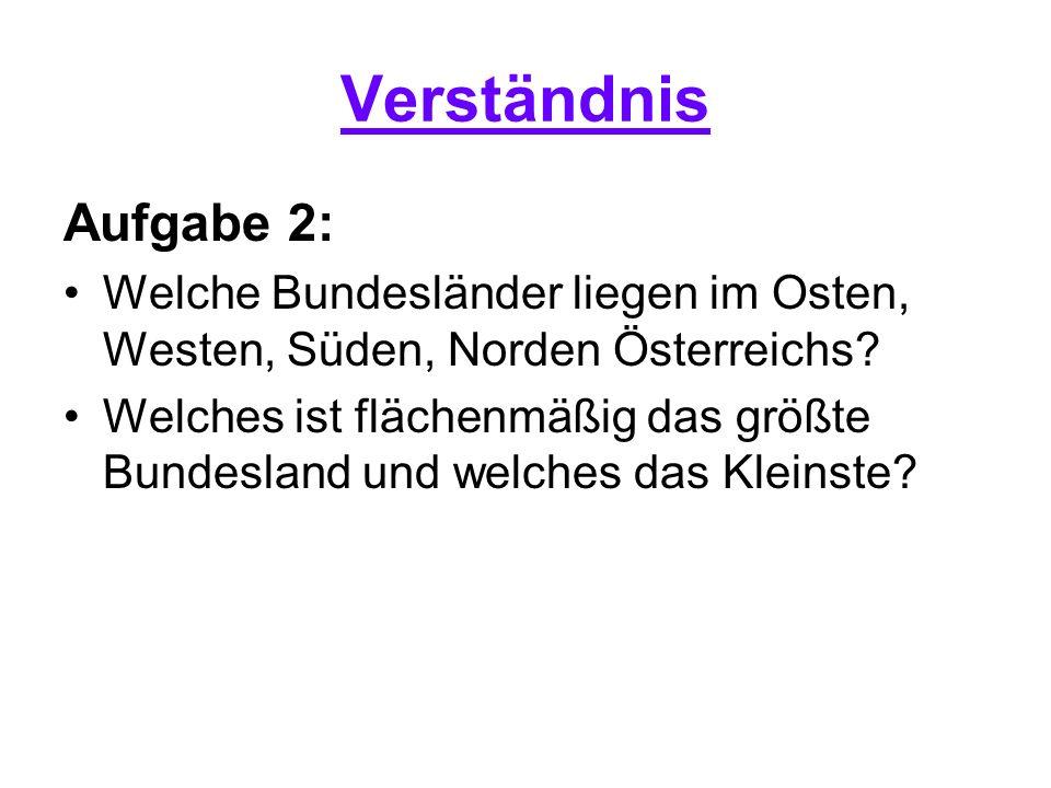 Verständnis Aufgabe 2: Welche Bundesländer liegen im Osten, Westen, Süden, Norden Österreichs? Welches ist flächenmäßig das größte Bundesland und welc