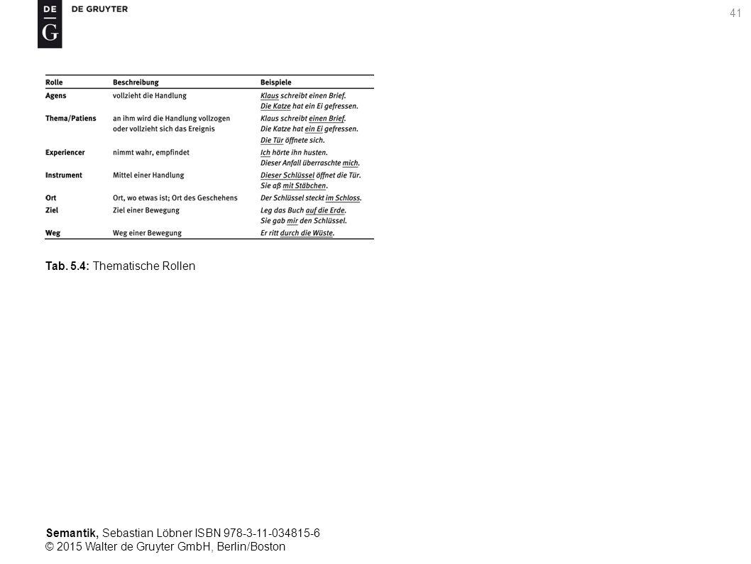 Semantik, Sebastian Löbner ISBN 978-3-11-034815-6 © 2015 Walter de Gruyter GmbH, Berlin/Boston 41 Tab. 5.4: Thematische Rollen