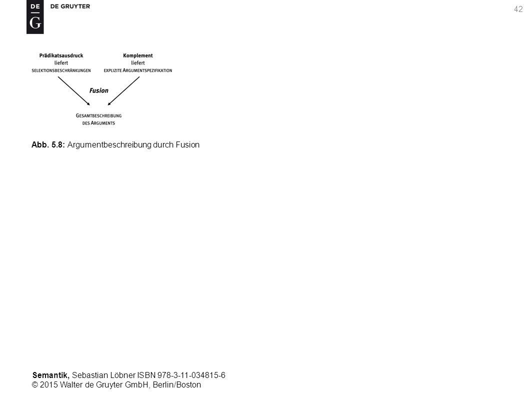 Semantik, Sebastian Löbner ISBN 978-3-11-034815-6 © 2015 Walter de Gruyter GmbH, Berlin/Boston 42 Abb. 5.8: Argumentbeschreibung durch Fusion
