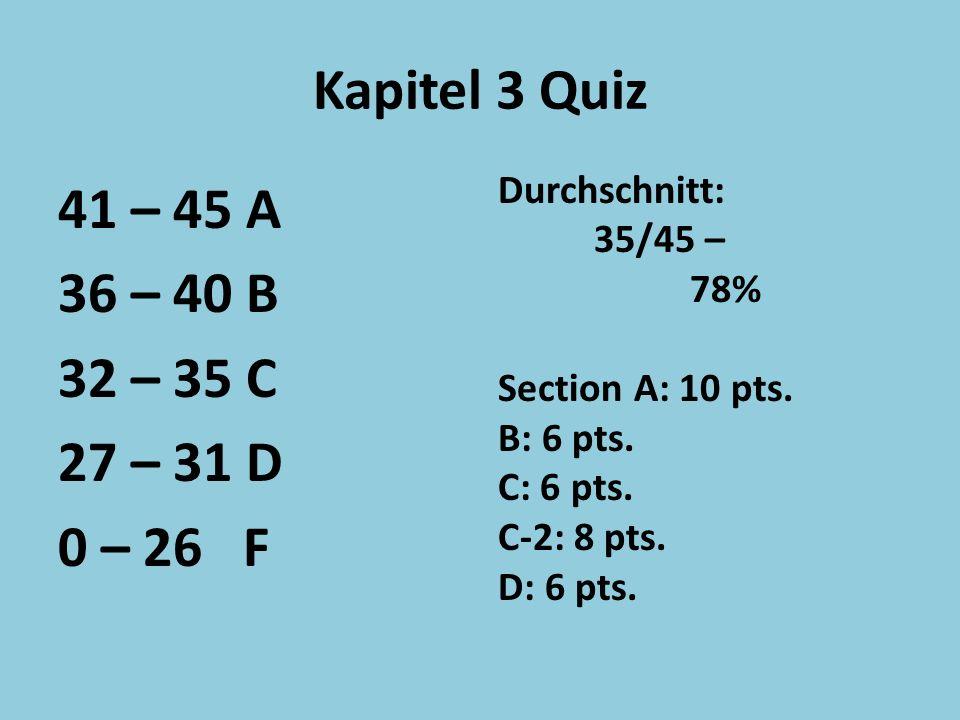 Kapitel 3 Quiz 41 – 45 A 36 – 40 B 32 – 35 C 27 – 31 D 0 – 26 F Durchschnitt: 35/45 – 78% Section A: 10 pts.