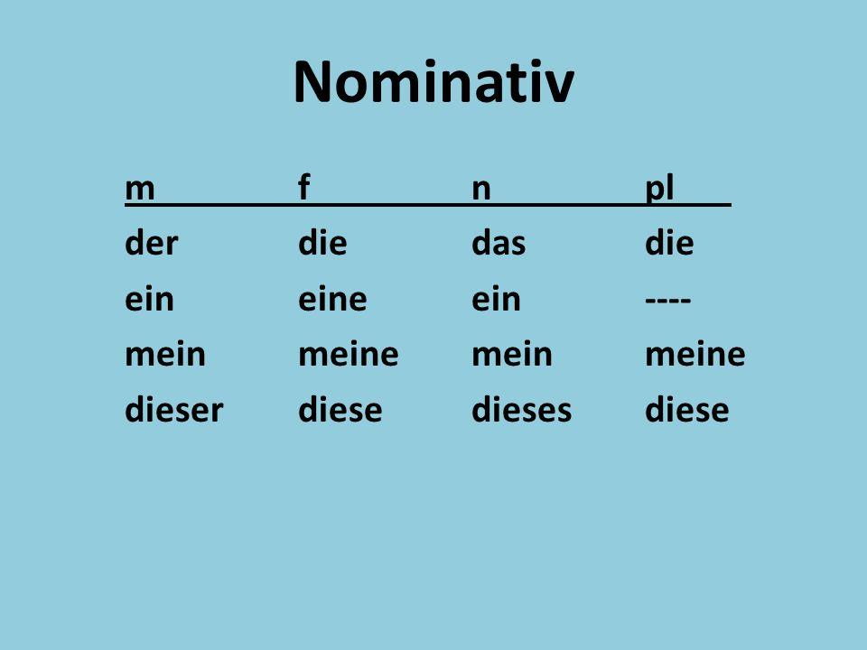 Nominativ mfnpl derdiedasdie eineineein---- meinmeinemeinmeine dieserdiesediesesdiese