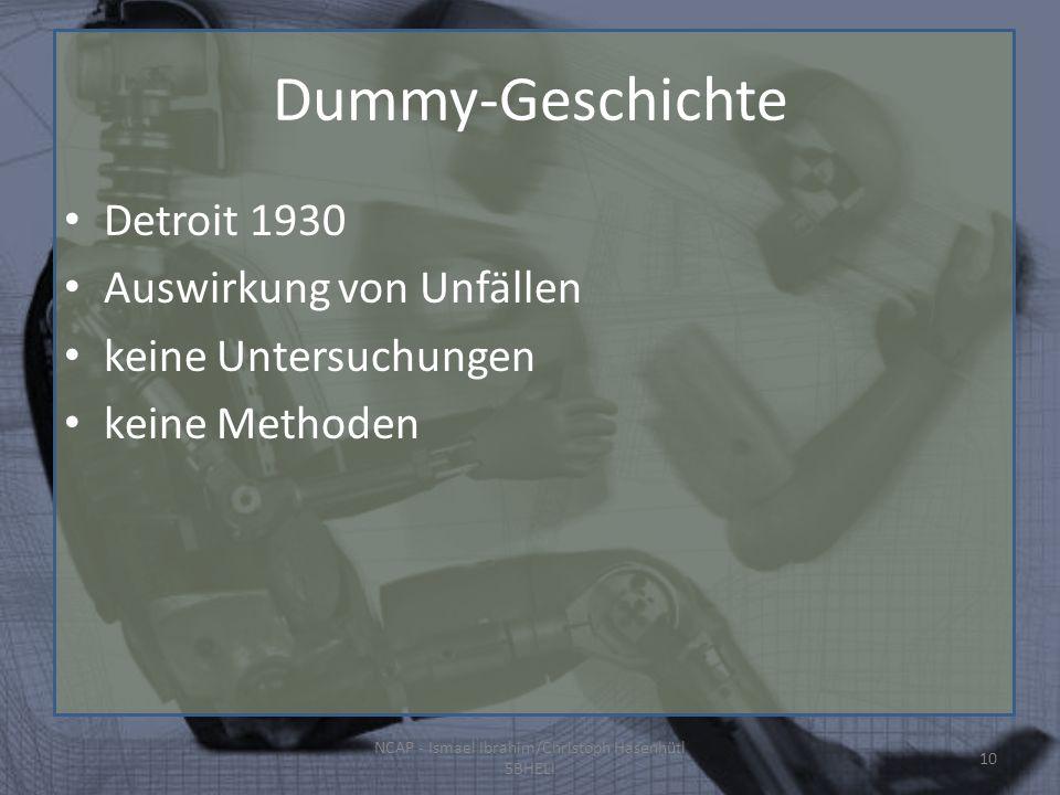 Dummy-Geschichte Detroit 1930 Auswirkung von Unfällen keine Untersuchungen keine Methoden NCAP - Ismael Ibrahim/Christoph Hasenhütl 5BHELI 10
