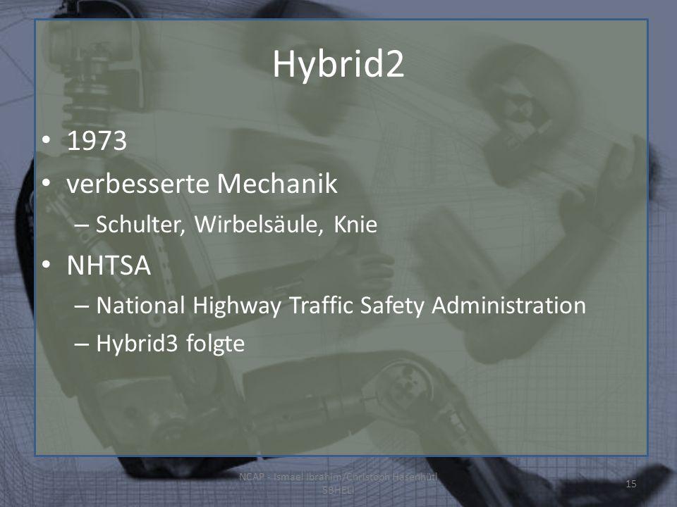 Hybrid2 1973 verbesserte Mechanik – Schulter, Wirbelsäule, Knie NHTSA – National Highway Traffic Safety Administration – Hybrid3 folgte NCAP - Ismael Ibrahim/Christoph Hasenhütl 5BHELI 15
