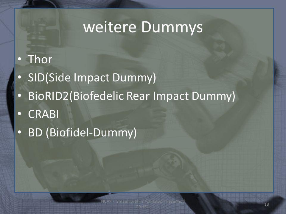 weitere Dummys Thor SID(Side Impact Dummy) BioRID2(Biofedelic Rear Impact Dummy) CRABI BD (Biofidel-Dummy) NCAP - Ismael Ibrahim/Christoph Hasenhütl 5BHELI 18