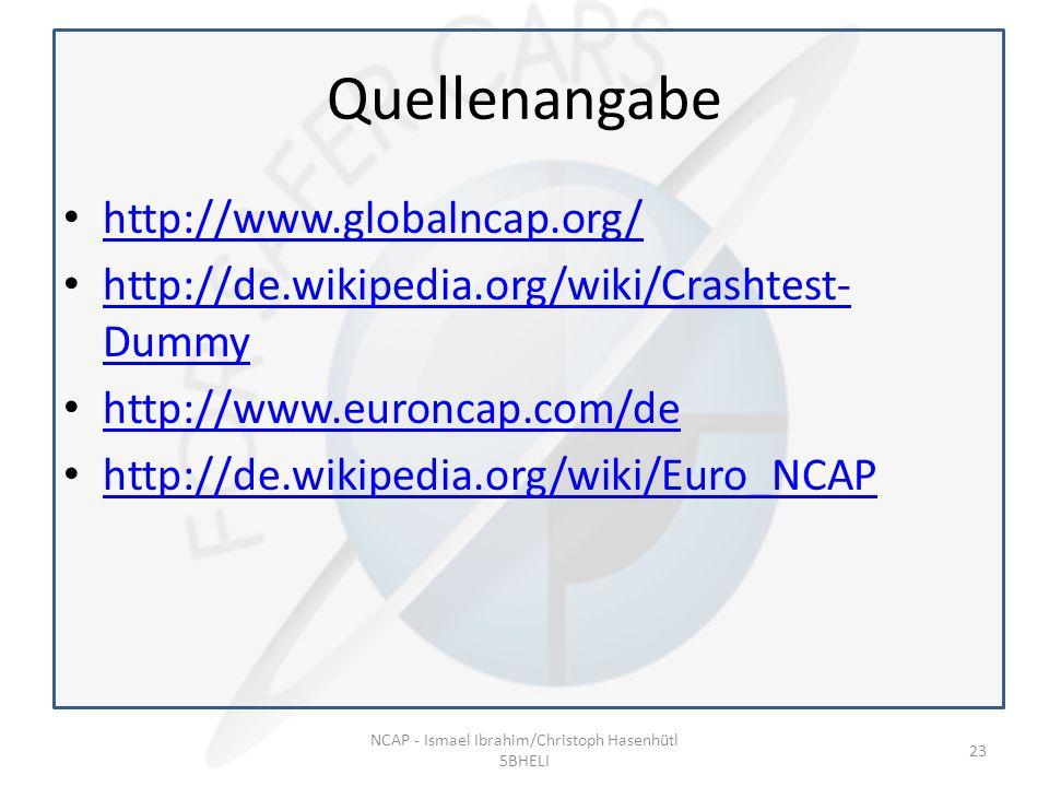 Quellenangabe http://www.globalncap.org/ http://de.wikipedia.org/wiki/Crashtest- Dummy http://de.wikipedia.org/wiki/Crashtest- Dummy http://www.euroncap.com/de http://de.wikipedia.org/wiki/Euro_NCAP NCAP - Ismael Ibrahim/Christoph Hasenhütl 5BHELI 23