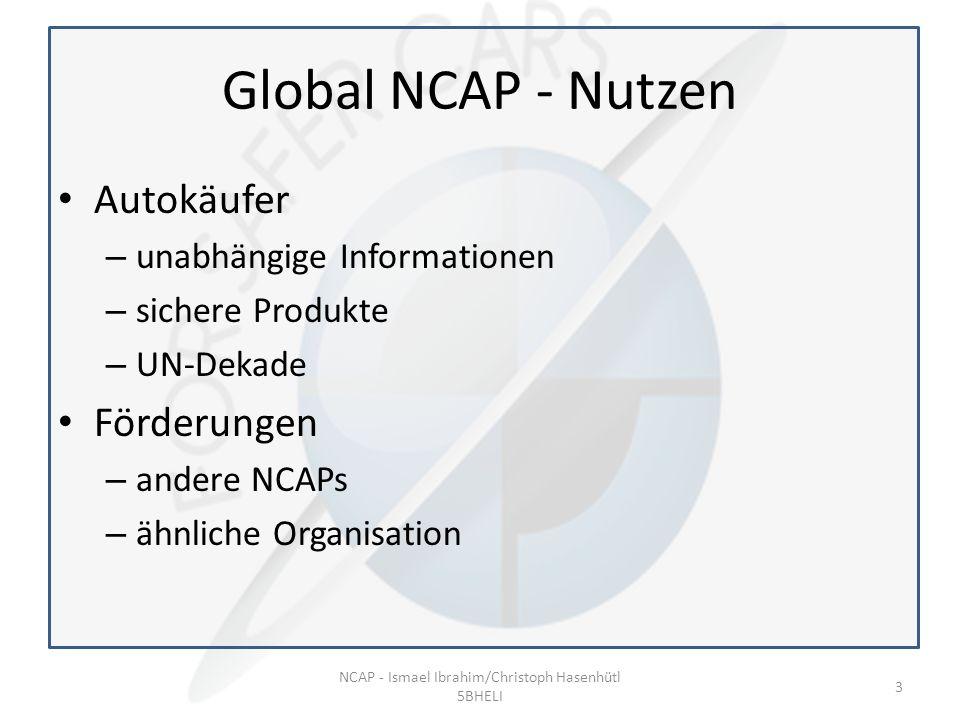 Global NCAP - Nutzen Autokäufer – unabhängige Informationen – sichere Produkte – UN-Dekade Förderungen – andere NCAPs – ähnliche Organisation NCAP - Ismael Ibrahim/Christoph Hasenhütl 5BHELI 3