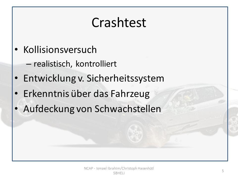 Crashtest Kollisionsversuch – realistisch, kontrolliert Entwicklung v.