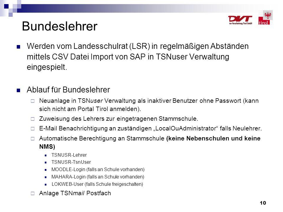 10 Bundeslehrer Werden vom Landesschulrat (LSR) in regelmäßigen Abständen mittels CSV Datei Import von SAP in TSNuser Verwaltung eingespielt. Ablauf f