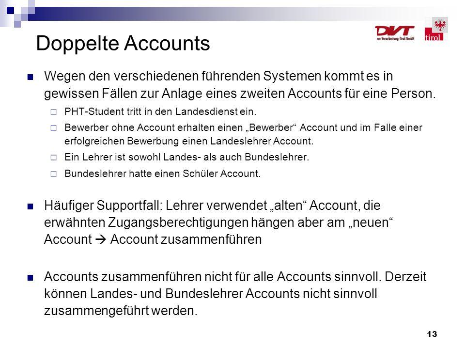 13 Doppelte Accounts Wegen den verschiedenen führenden Systemen kommt es in gewissen Fällen zur Anlage eines zweiten Accounts für eine Person.  PHT-S