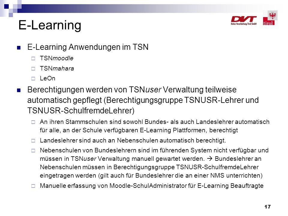 17 E-Learning E-Learning Anwendungen im TSN  TSNmoodle  TSNmahara  LeOn Berechtigungen werden von TSNuser Verwaltung teilweise automatisch gepflegt