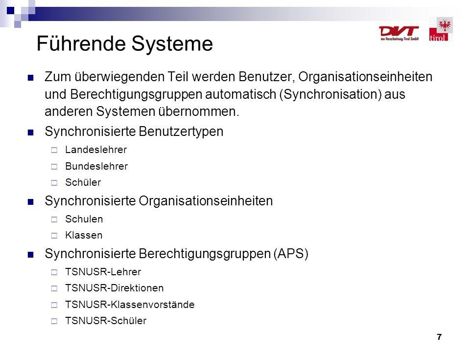 7 Zum überwiegenden Teil werden Benutzer, Organisationseinheiten und Berechtigungsgruppen automatisch (Synchronisation) aus anderen Systemen übernomme