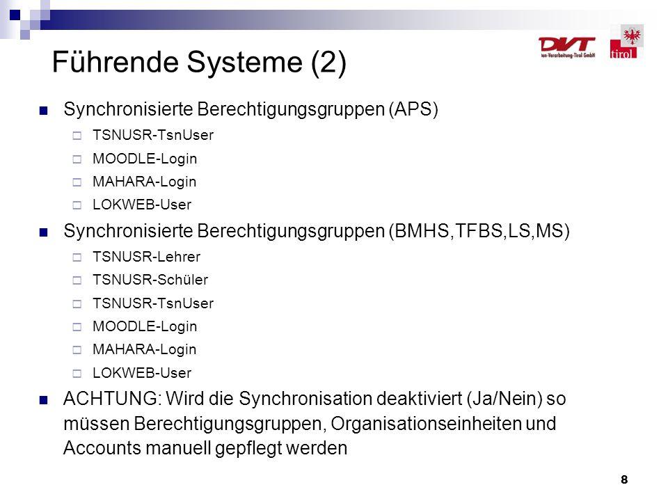 8 Führende Systeme (2) Synchronisierte Berechtigungsgruppen (APS)  TSNUSR-TsnUser  MOODLE-Login  MAHARA-Login  LOKWEB-User Synchronisierte Berecht