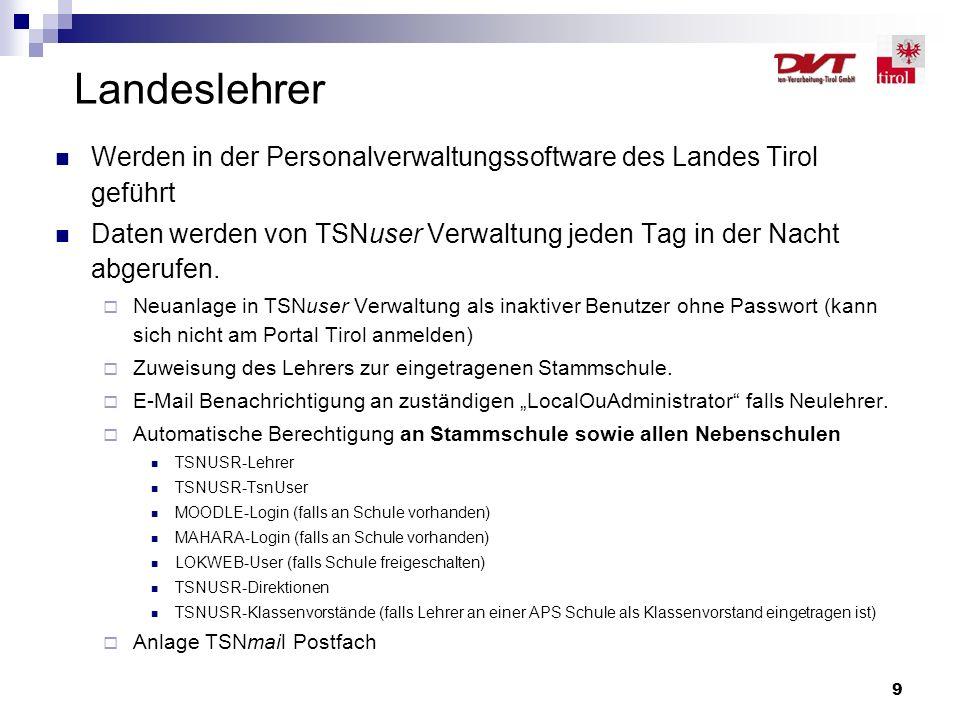 9 Landeslehrer Werden in der Personalverwaltungssoftware des Landes Tirol geführt Daten werden von TSNuser Verwaltung jeden Tag in der Nacht abgerufen