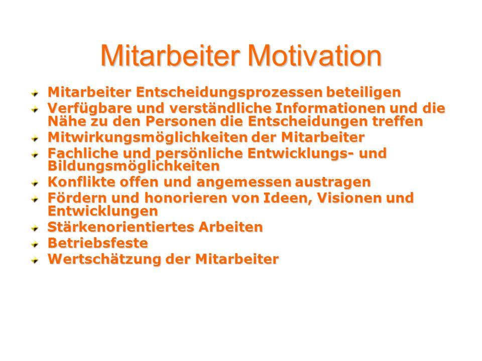 Mitarbeiter Motivation Mitarbeiter Entscheidungsprozessen beteiligen Verfügbare und verständliche Informationen und die Nähe zu den Personen die Entsc