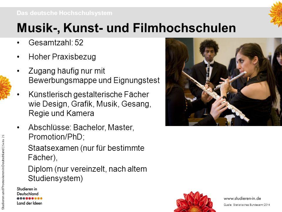 Studieren und Promovieren in Deutschland | Seite 21 Musik-, Kunst- und Filmhochschulen Das deutsche Hochschulsystem Gesamtzahl: 52 Hoher Praxisbezug Z