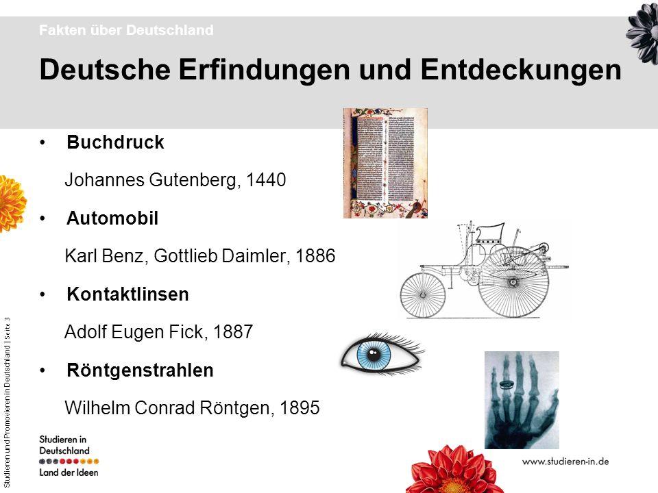 Studieren und Promovieren in Deutschland | Seite 3 Deutsche Erfindungen und Entdeckungen Fakten über Deutschland Buchdruck Johannes Gutenberg, 1440 Au
