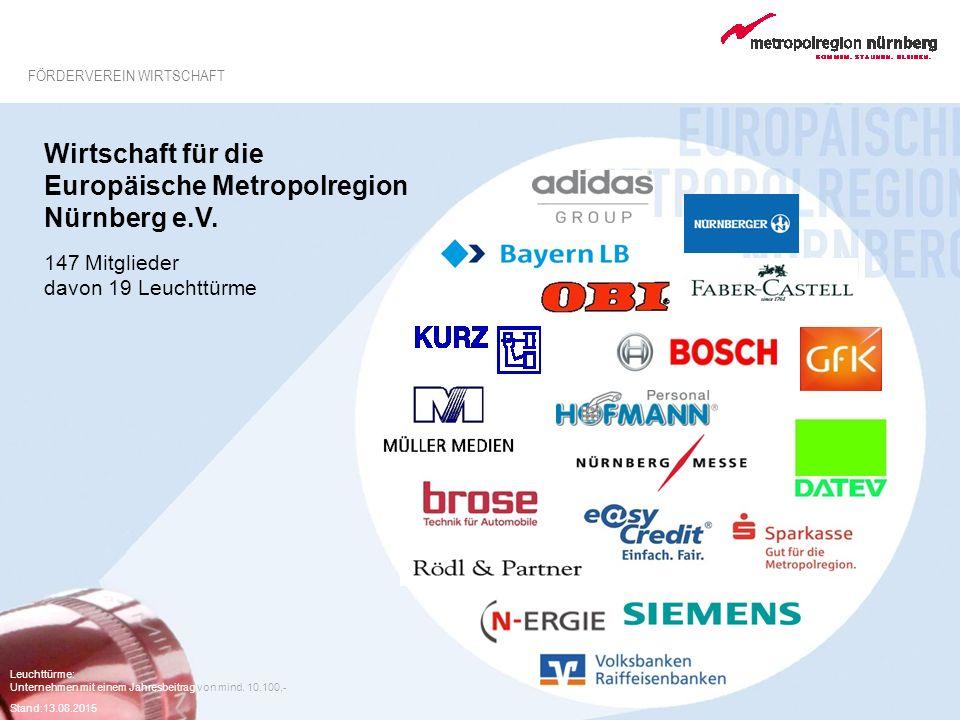 Leuchttürme: Unternehmen mit einem Jahresbeitrag von mind. 10.100,- Stand:13.08.2015 FÖRDERVEREIN WIRTSCHAFT Wirtschaft für die Europäische Metropolre