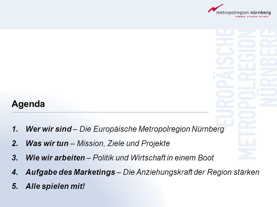 Agenda 1.Wer wir sind – Die Europäische Metropolregion Nürnberg 2.Was wir tun – Mission, Ziele und Projekte 3.Wie wir arbeiten – Politik und Wirtschaf