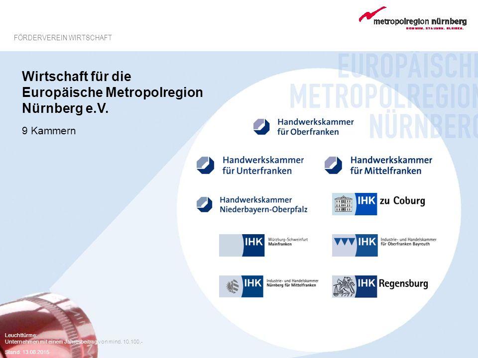 Leuchttürme: Unternehmen mit einem Jahresbeitrag von mind. 10.100,- Stand: 13.08.2015 Wirtschaft für die Europäische Metropolregion Nürnberg e.V. 9 Ka
