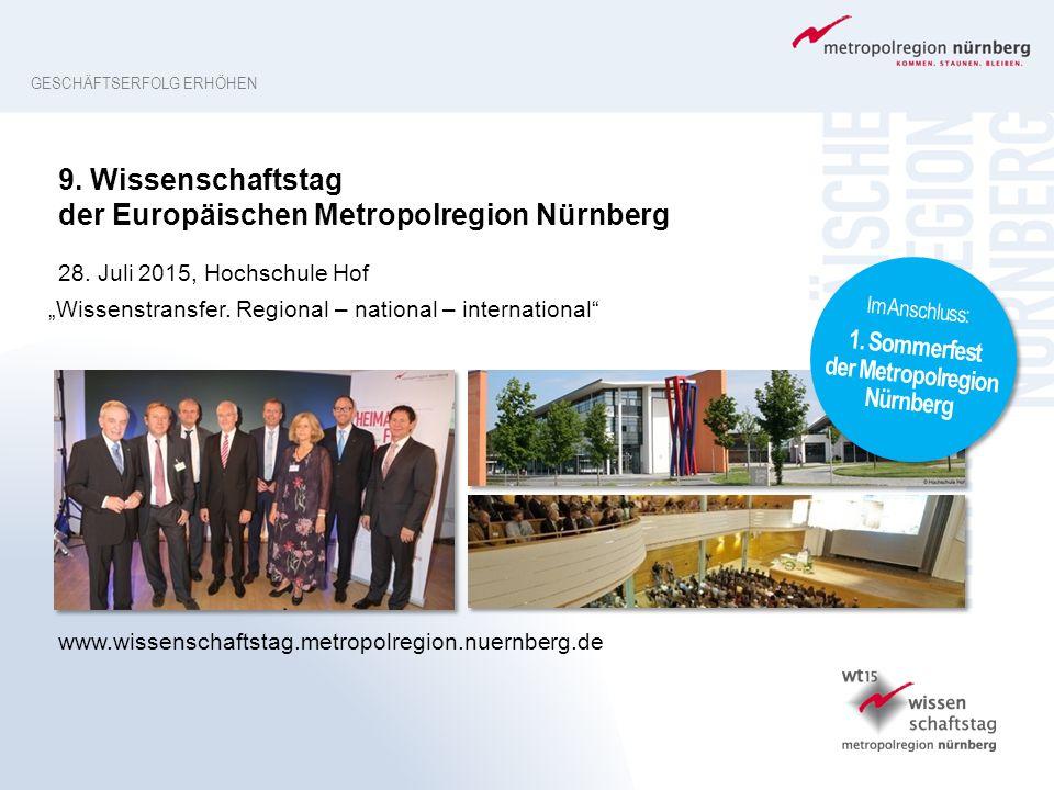 GESCHÄFTSERFOLG ERHÖHEN www.wissenschaftstag.metropolregion.nuernberg.de 9. Wissenschaftstag der Europäischen Metropolregion Nürnberg 28. Juli 2015, H