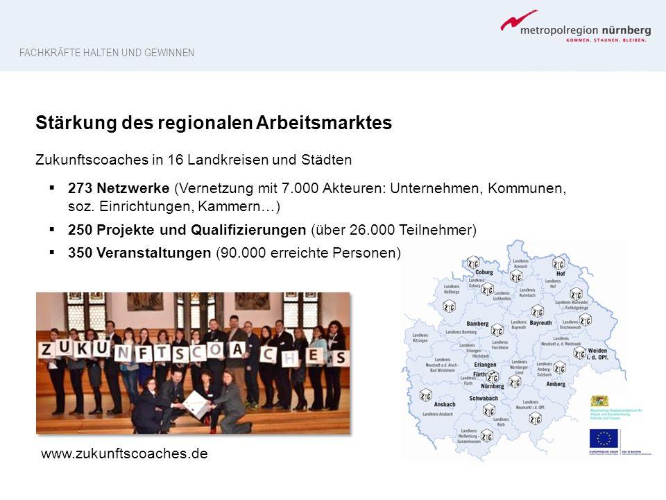 Stärkung des regionalen Arbeitsmarktes Zukunftscoaches in 16 Landkreisen und Städten  273 Netzwerke (Vernetzung mit 7.000 Akteuren: Unternehmen, Komm
