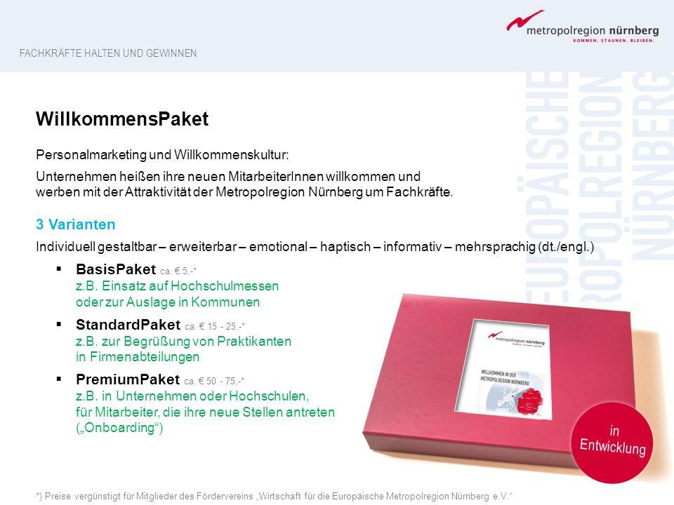 """*) Preise vergünstigt für Mitglieder des Fördervereins """"Wirtschaft für die Europäische Metropolregion Nürnberg e.V."""" WillkommensPaket Personalmarketin"""