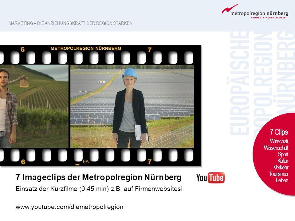 7 Imageclips der Metropolregion Nürnberg Einsatz der Kurzfilme (0:45 min) z.B. auf Firmenwebsites! www.youtube.com/diemetropolregion 7 Clips Wirtschaf