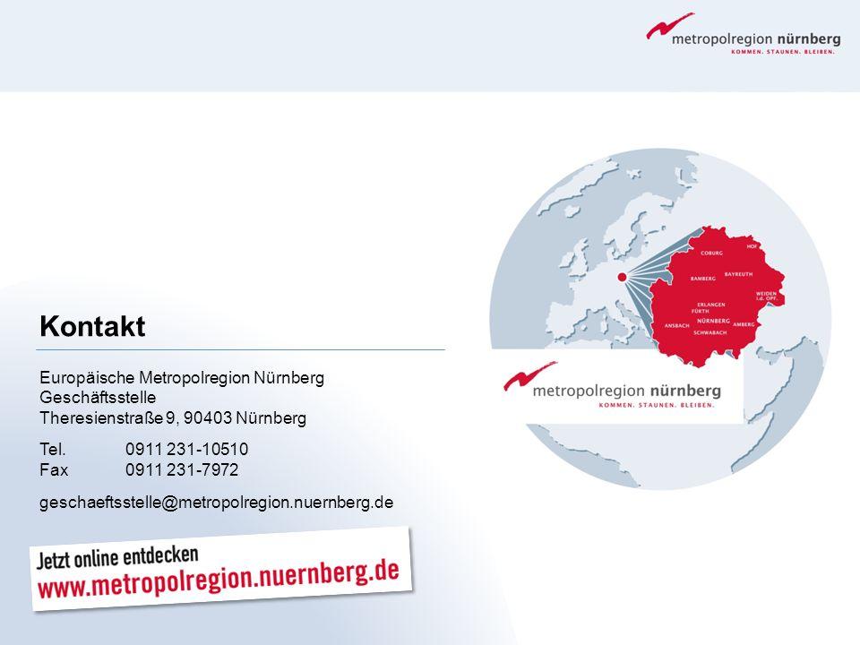 Kontakt Europäische Metropolregion Nürnberg Geschäftsstelle Theresienstraße 9, 90403 Nürnberg Tel.0911 231-10510 Fax0911 231-7972 geschaeftsstelle@met