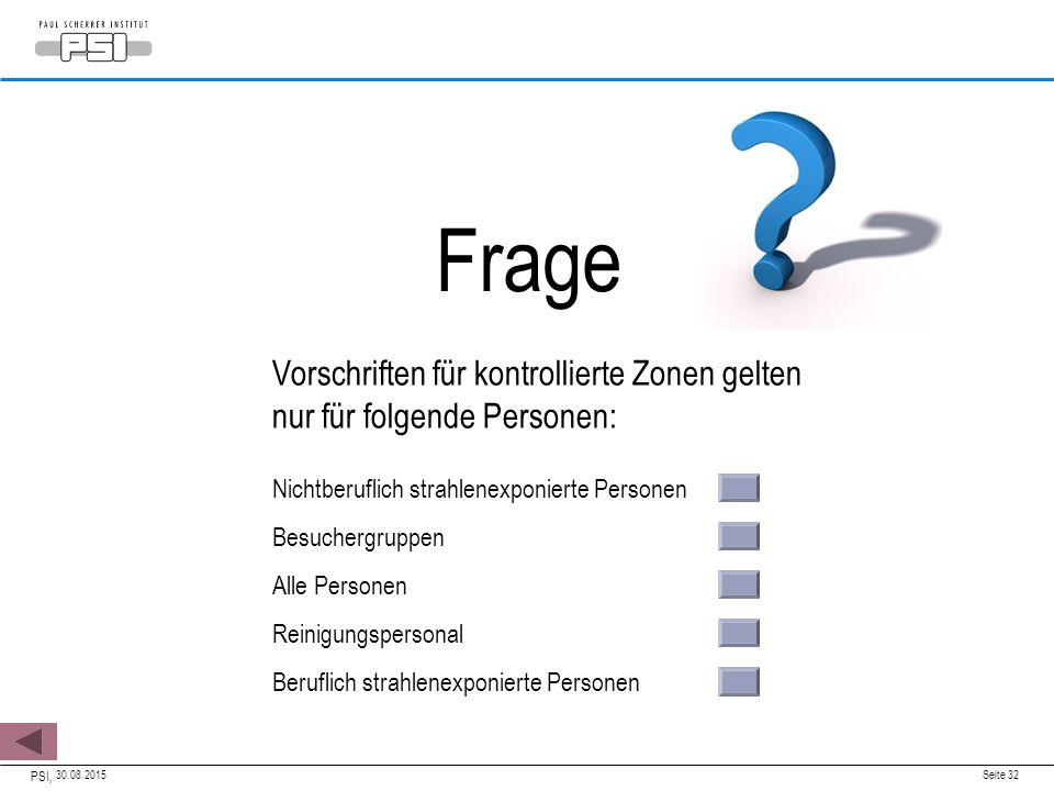 30.08.2015 PSI, Seite 32 Vorschriften für kontrollierte Zonen gelten nur für folgende Personen: Nichtberuflich strahlenexponierte Personen Besuchergru