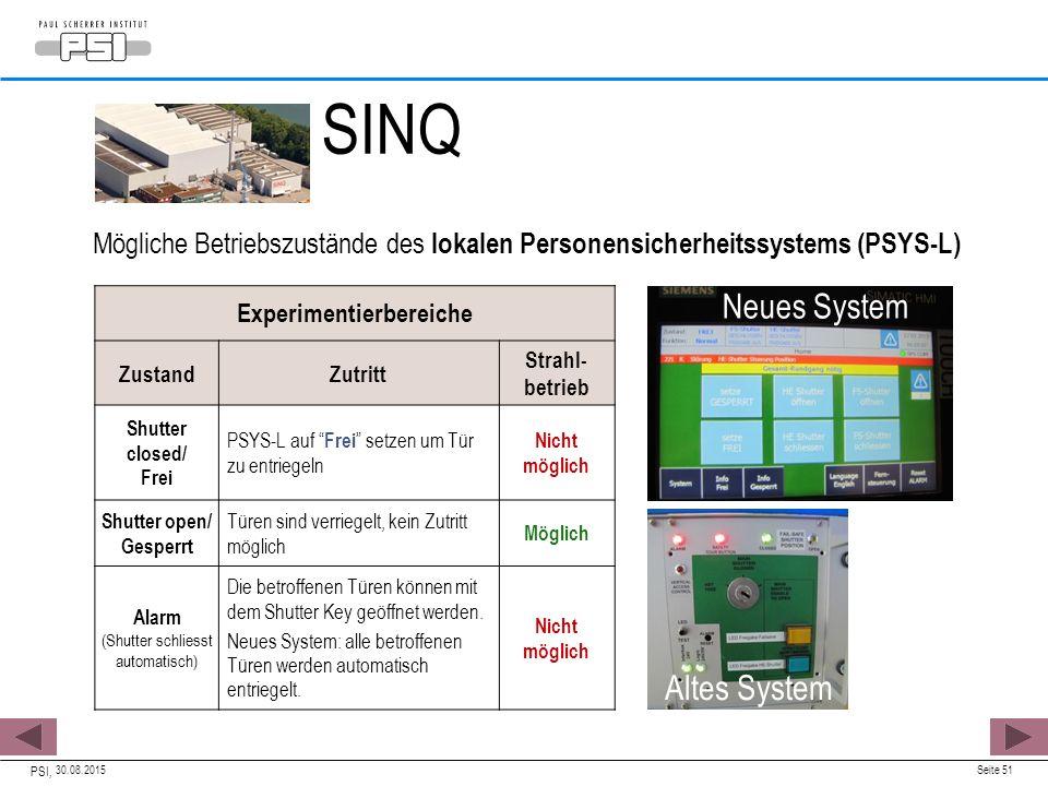 """30.08.2015 PSI, Seite 51 Experimentierbereiche ZustandZutritt Strahl- betrieb Shutter closed/ Frei PSYS-L auf """" Frei """" setzen um Tür zu entriegeln Nic"""
