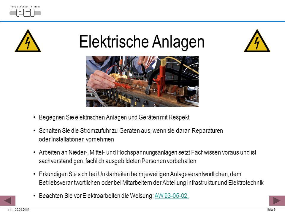 30.08.2015 PSI, Seite 9 Elektrische Anlagen Begegnen Sie elektrischen Anlagen und Geräten mit Respekt Schalten Sie die Stromzufuhr zu Geräten aus, wen