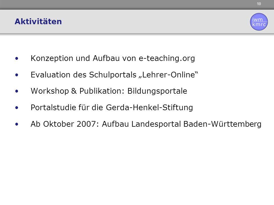 """10 Konzeption und Aufbau von e-teaching.org Evaluation des Schulportals """"Lehrer-Online"""" Workshop & Publikation: Bildungsportale Portalstudie für die G"""