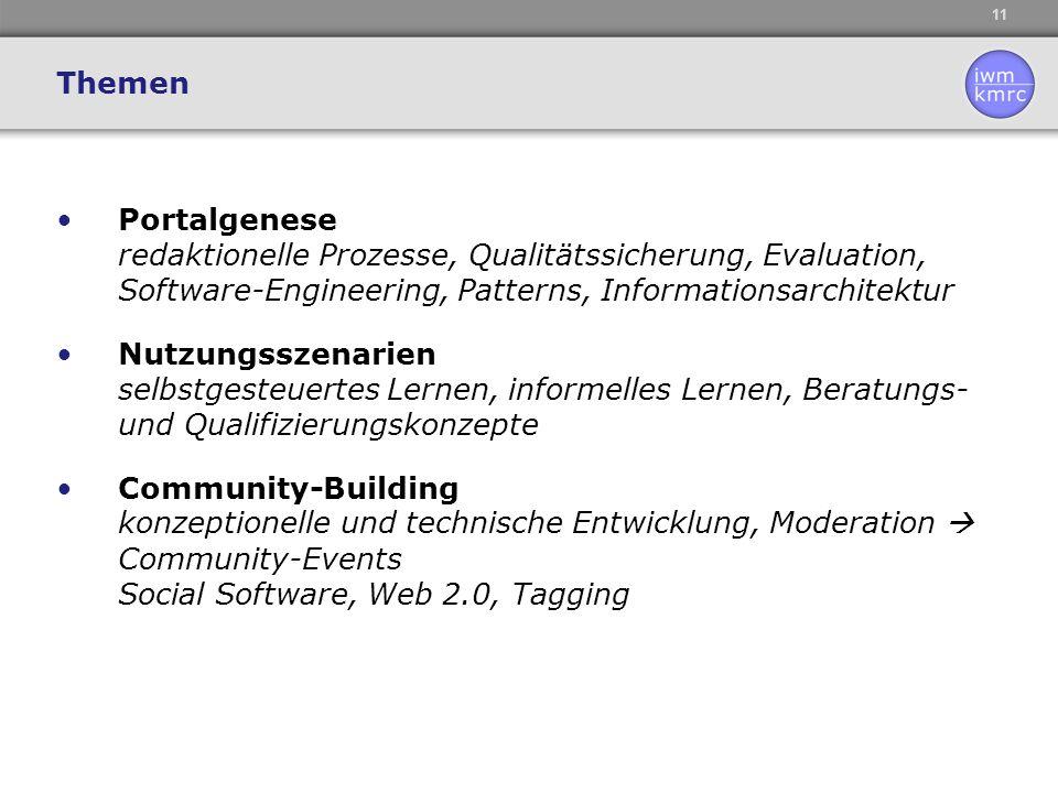 11 Portalgenese redaktionelle Prozesse, Qualitätssicherung, Evaluation, Software-Engineering, Patterns, Informationsarchitektur Nutzungsszenarien selb
