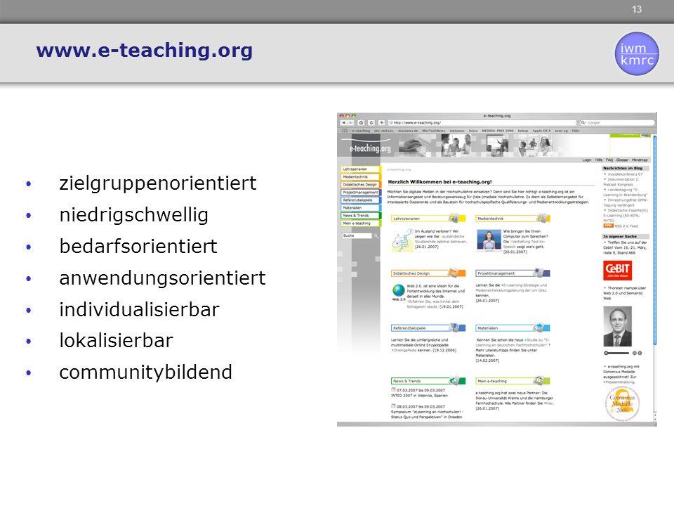 13 zielgruppenorientiert niedrigschwellig bedarfsorientiert anwendungsorientiert individualisierbar lokalisierbar communitybildend www.e-teaching.org