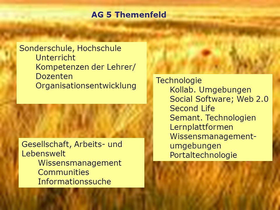 2 AG 5 Themenfeld Gesellschaft, Arbeits- und Lebenswelt Wissensmanagement Communities Informationssuche Technologie Kollab. Umgebungen Social Software