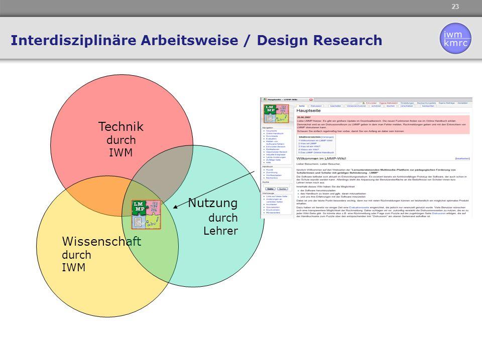 23 Technik durch IWM Wissenschaft durch IWM Nutzung durch Lehrer Interdisziplinäre Arbeitsweise / Design Research