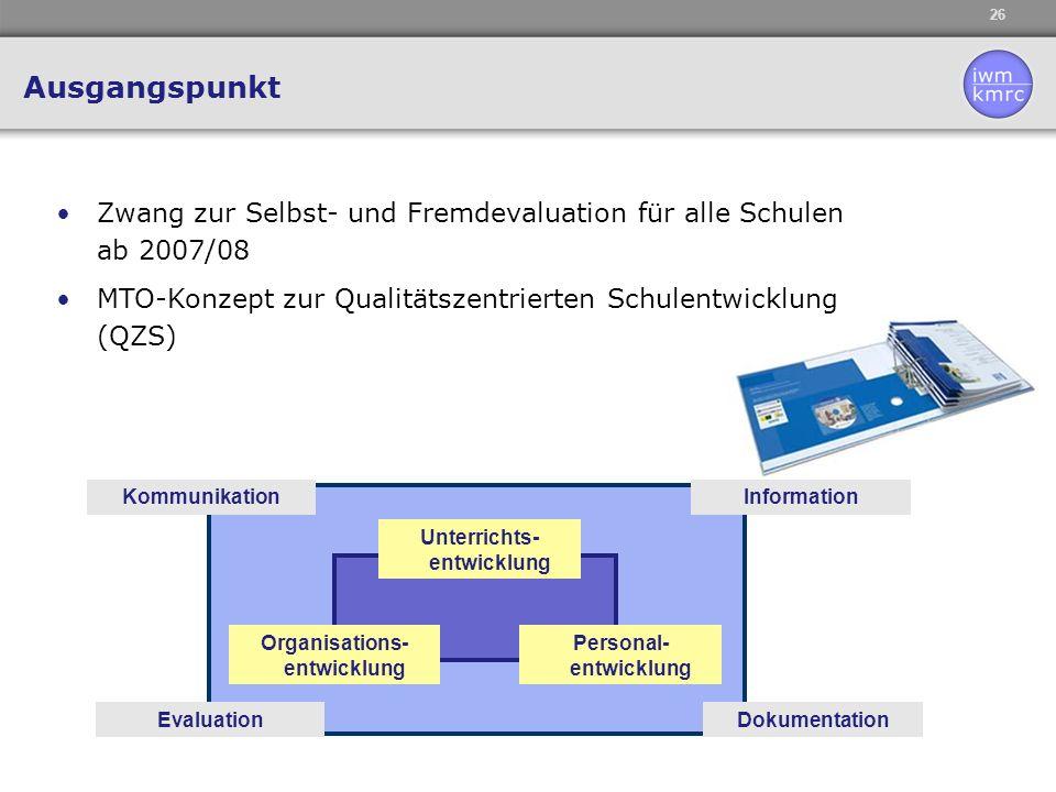 26 Unterrichts- entwicklung Organisations- entwicklung Personal- entwicklung Evaluation InformationKommunikation Dokumentation Zwang zur Selbst- und F