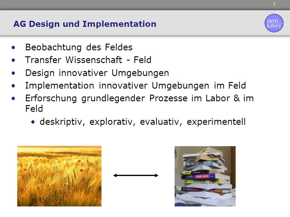 3 AG Design und Implementation Beobachtung des Feldes Transfer Wissenschaft - Feld Design innovativer Umgebungen Implementation innovativer Umgebungen im Feld Erforschung grundlegender Prozesse im Labor & im Feld deskriptiv, explorativ, evaluativ, experimentell