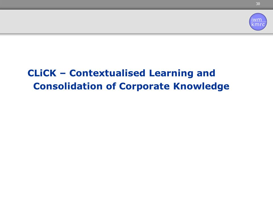 30 CLiCK – Contextualised Learning and Consolidation of Corporate Knowledge